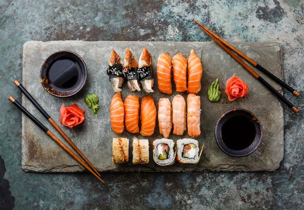 Sushi set served on stone slate