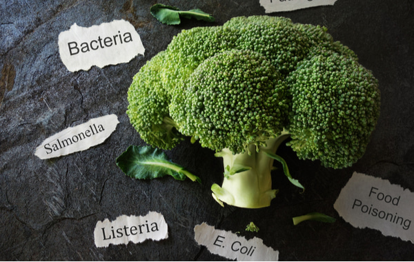 Broccoli with various food poisoning related labels