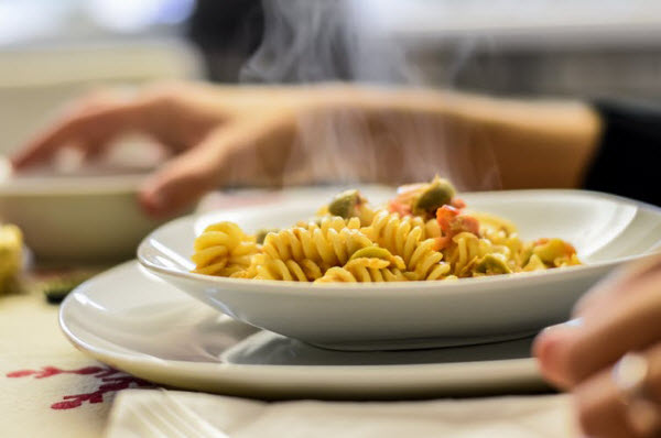 Newly cooked pasta on a plate