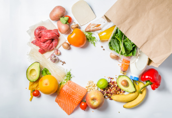 Fresh foods with shopping bag