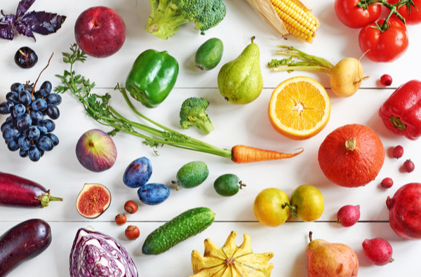 Rainbow colored fruits and vegetables